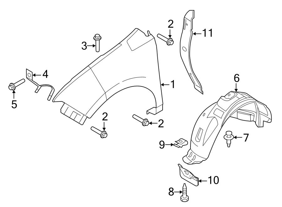 Ford Edge Fender Splash Shield (Front, Lower). Liner, Left