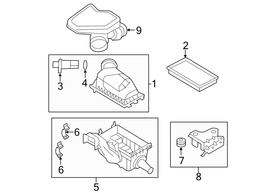 Ford Edge Air Filter Housing (Lower). LITER, INTAKE, Tray