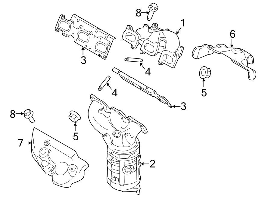 Ford Edge Stud. Manifold. Exhaust. LITER, Mnfd, Wconverter