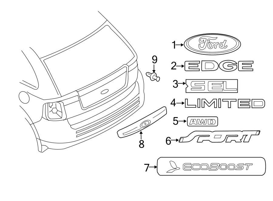 2012 Ford Edge Rear molding. Rear; w/rear camera primed