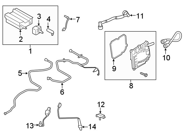 Ford Edge Oxygen Sensor (Front, Upper). LITER, EMISSION