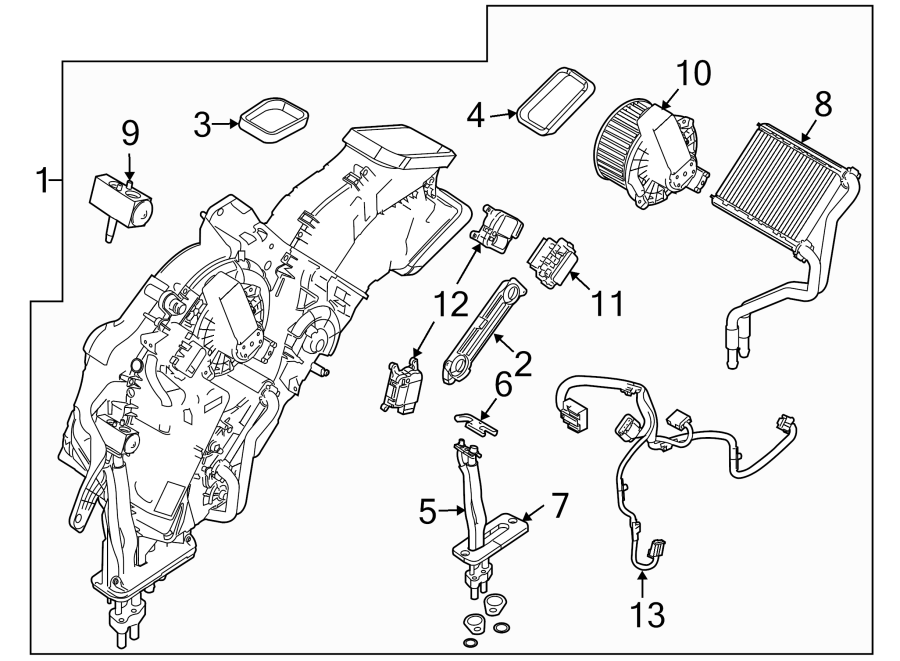 2014 Ford Flex Hvac air inlet door actuator. Rear, adjust