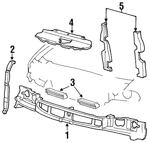 Ford Windstar Mount panel. Reinforcement. 1998. FRONT