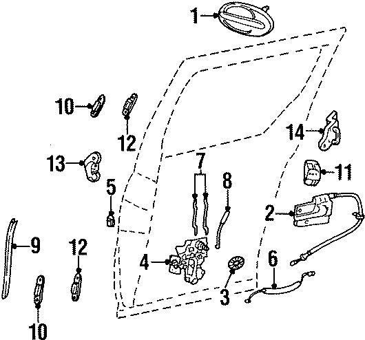 Ford Windstar Sliding Door Handle. SIDE, Right, LOCK