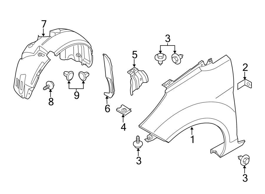2014 Ford Fusion Bracket rivet. Bumper cover bolt. Fender