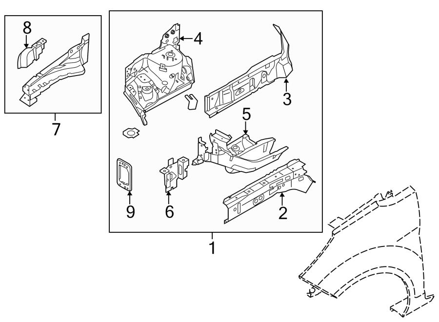 2014 Ford Fiesta Apron/rail assy. Front Left. STRUCTURAL