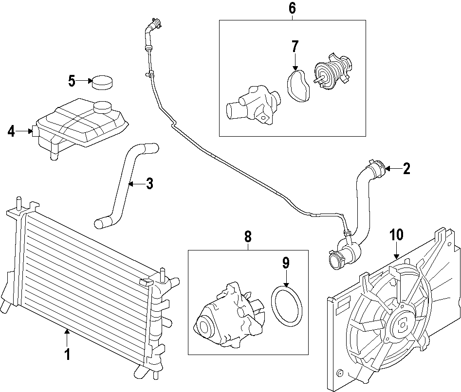 2010 Ford Transit Connect Adapter. Connector. WATER OUTLET