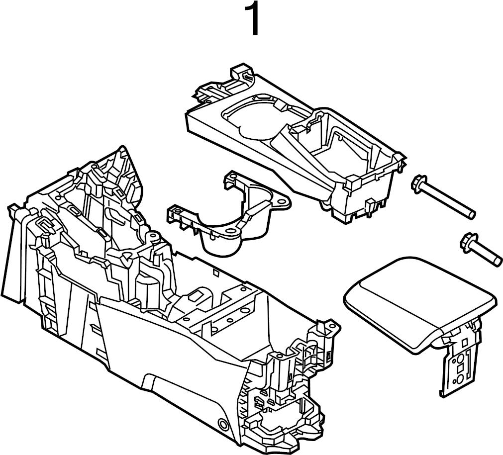 Ford Focus Console Armrest. 2012-14, CONSOLE BASE & TRIM