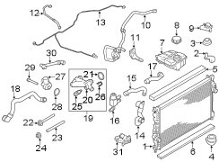 2014 Ford Escape Water valve. Valve To Radiator; Assembly