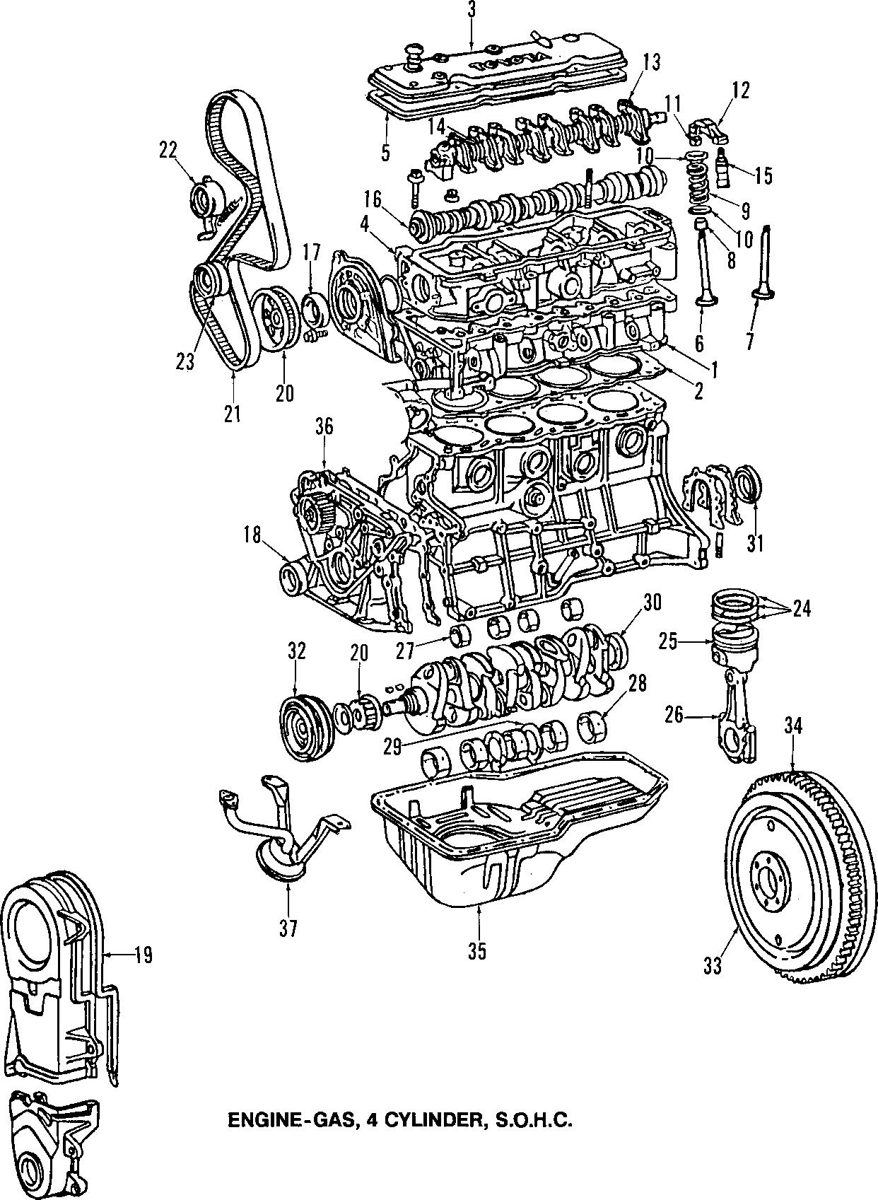 1988 TOYOTA COROLLA FX D (BASE) 1600CC, MANUAL Engine