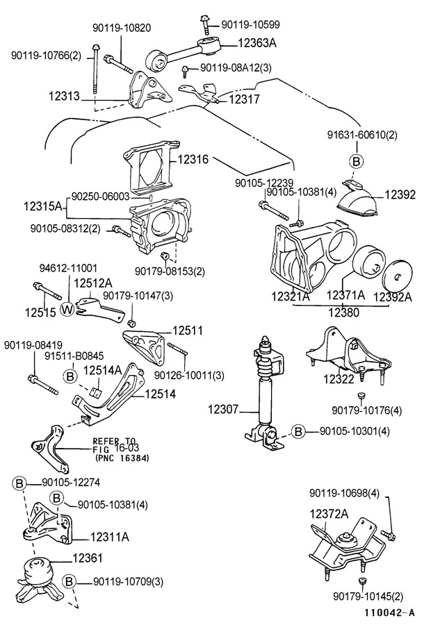 TOYOTA CAMRY Absorber sub-assy, engine mounting