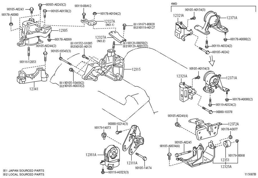 TOYOTA RAV 4 Bracket, engine mounting, front(for