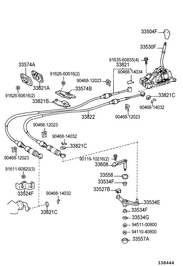 1997 TOYOTA RAV 4 Lever assy, shift (for floor shift