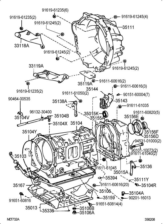 1996 TOYOTA LAND CRUISER Transmission. Drain. Plug. Gasket