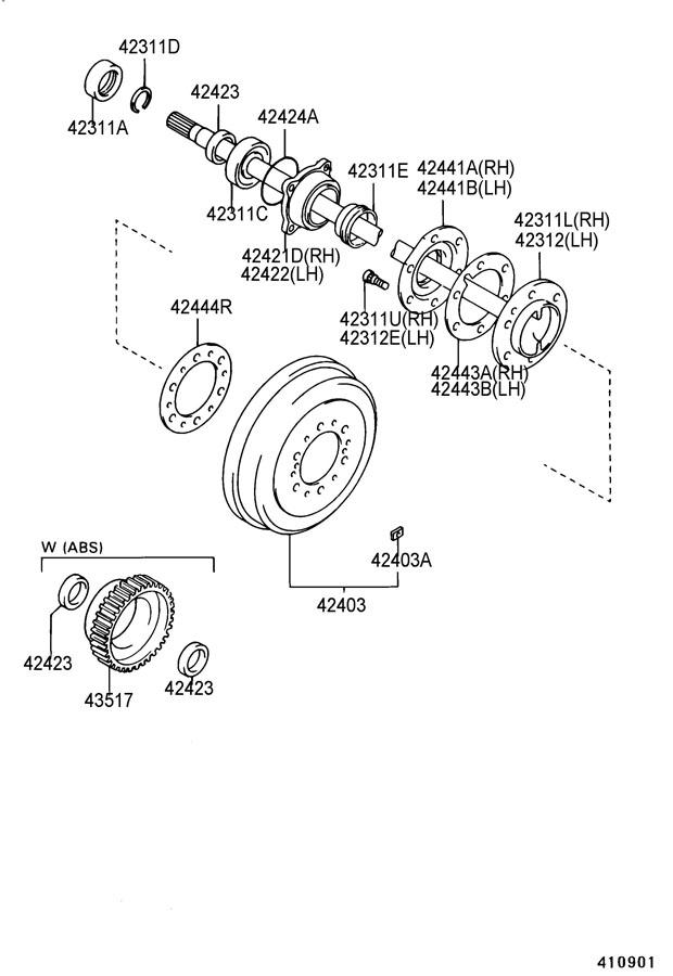 1987 TOYOTA 4RUNNER Bearing (for rear axle shaft). Type b