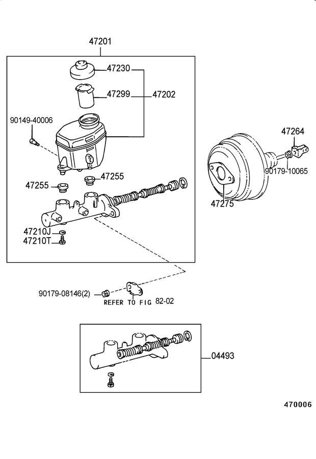 2001 TOYOTA Cylinder kit, brake master. Piston kit, brake