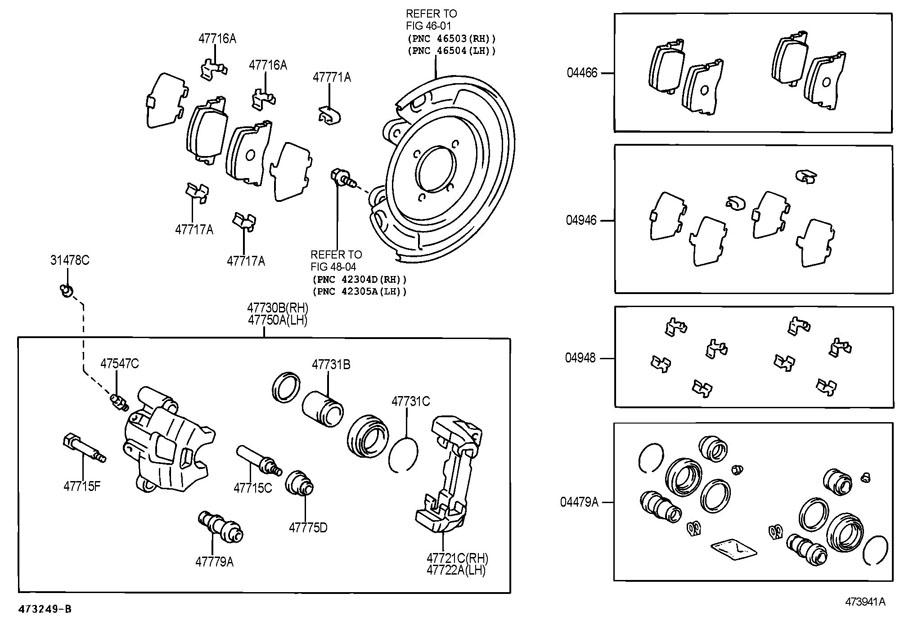 2005 Scion TC Pad kit, disc brake, rear. Mark sumitomo