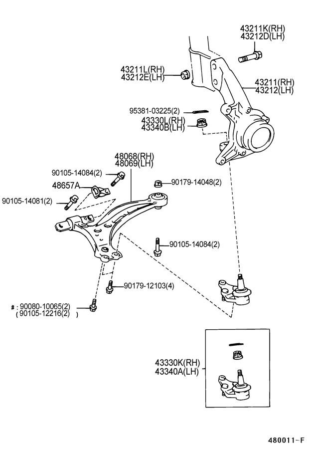 TOYOTA CAMRY Knuckle, steering, lh. (j); (l); taiwan spec