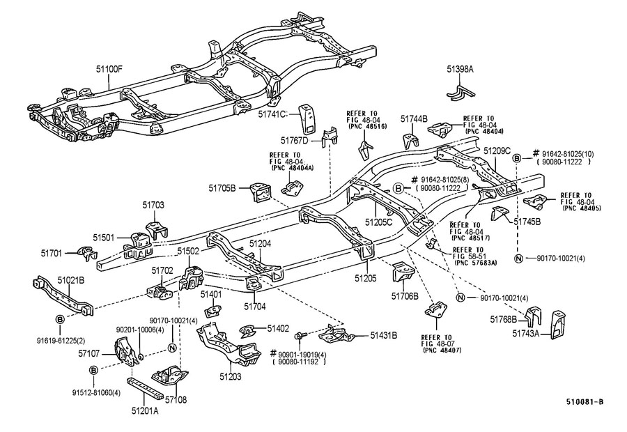 2003 TOYOTA TACOMA Frame Crossmember (Front). 2WD, W