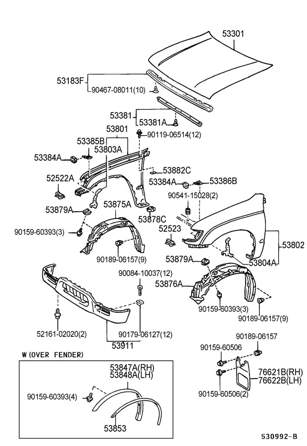 2011 Toyota Camry Front Bumper Parts Diagram. Toyota. Auto