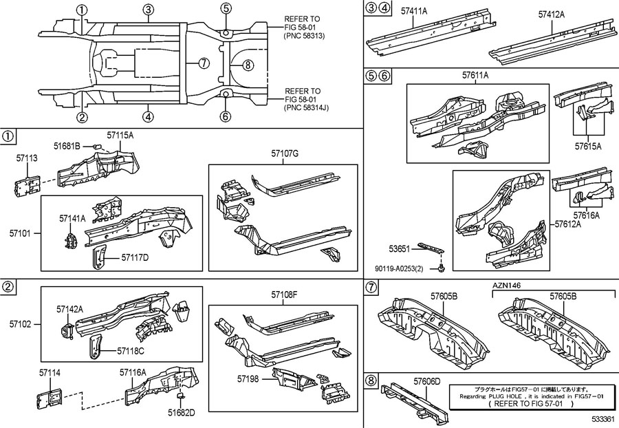 TOYOTA MATRIX Bracket sub-assy, front suspension member