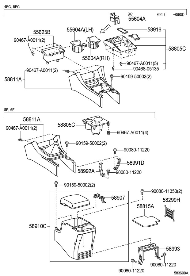 TOYOTA TACOMA Box assy, console, rear. Seatbase