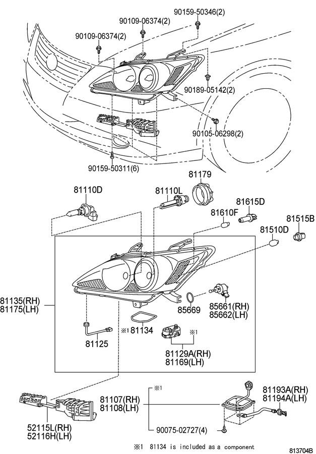 Scion XB Grommet. Nut. HeadLight. (Upper, Lower). HALOGEN