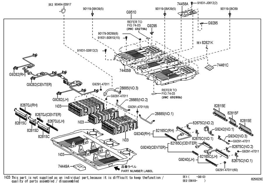 TOYOTA HIGHLANDER Battery assy, hv supply. P/n label