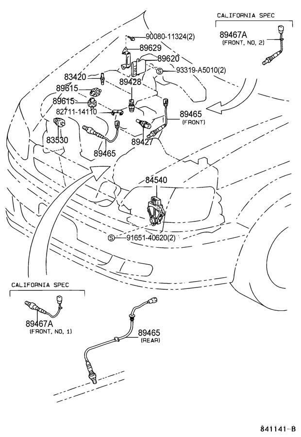 1999 TOYOTA SIENNA Oxygen Sensor (Rear, Lower). Oxygen