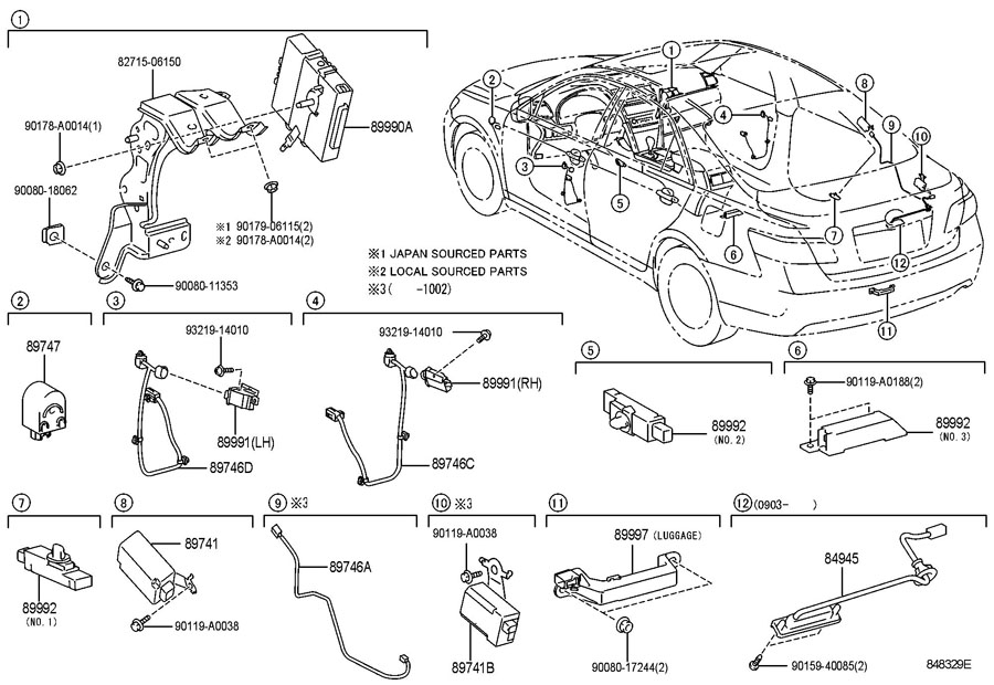 TOYOTA CAMRY Receiver, door control. Starting system-push