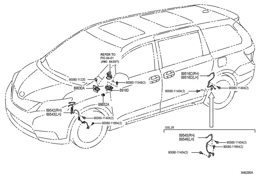 2017 TOYOTA SIENNA Abs wheel speed sensor wiring harness