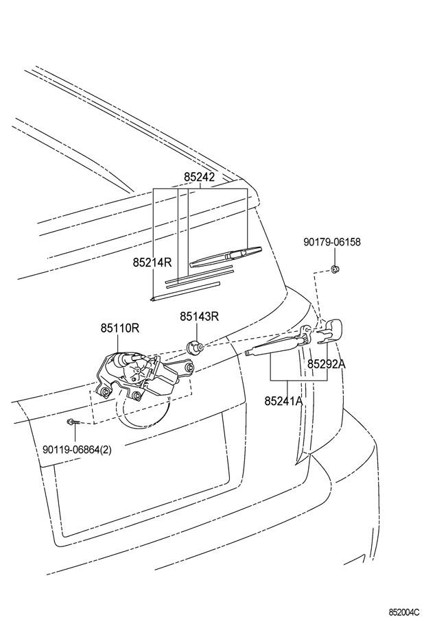 Scion XD Arm, rear wiper. Rear window wiper-with. Arm, rr