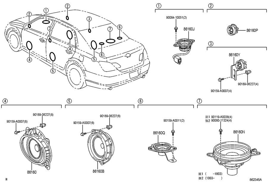 TOYOTA AVALON Speaker assy, stereo component, rear. Audio