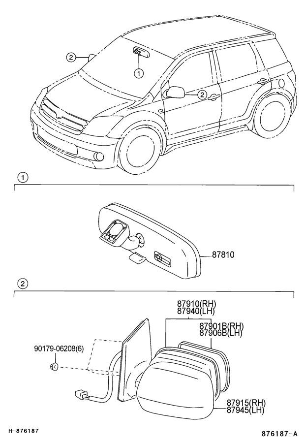 2006 Scion XA Mirror assy, outer rear view, rh. Dk.gray mc