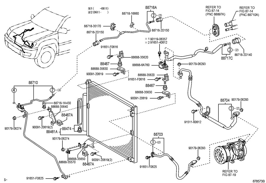 2004 TOYOTA 4RUNNER Pipe, cooler refrigerant suction, c