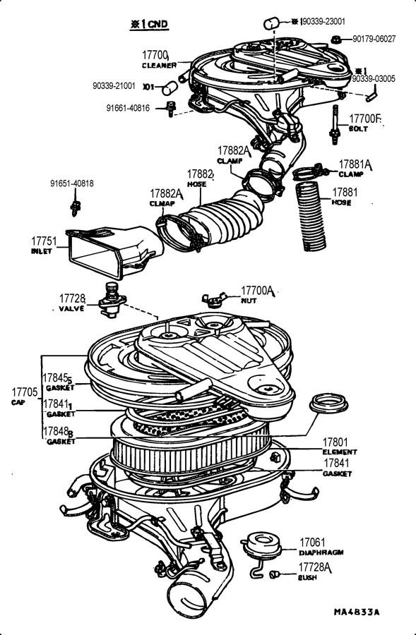 TOYOTA LAND CRUISER Gasket, air cleaner to carburetor