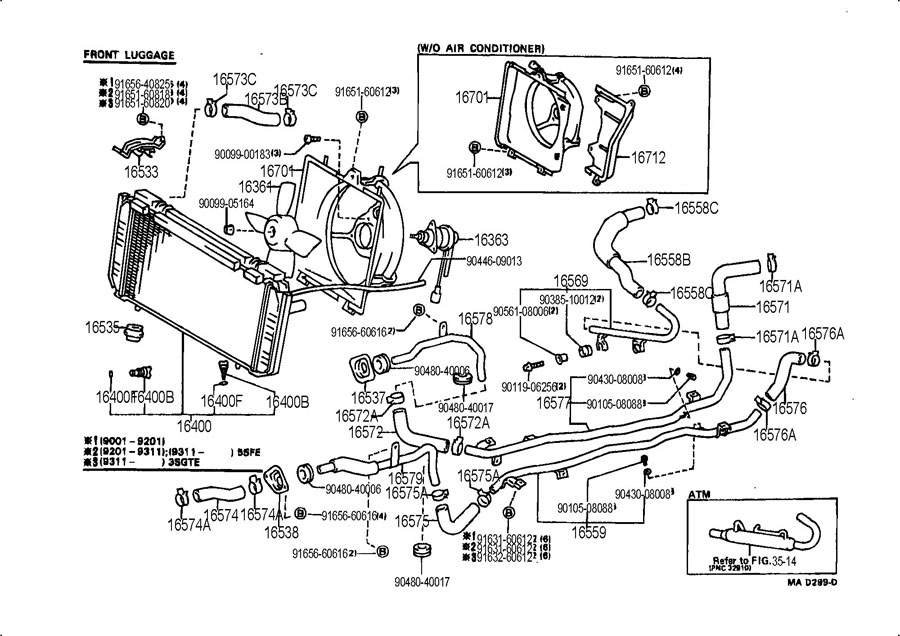1991 TOYOTA MR2 Pipe, radiator, no.7. Pipe, radiator, no.1