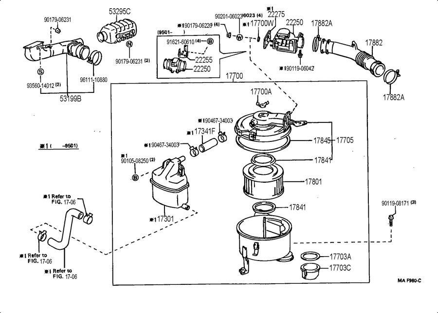 1993 TOYOTA LAND CRUISER Duct sub-assy, cool air intake