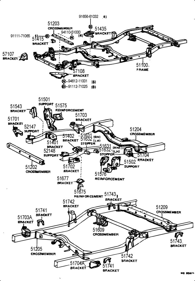 TOYOTA PICKUP Bracket sub-assy, cab mounting, no.2, rh