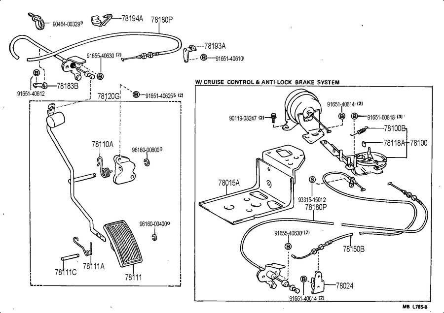 TOYOTA CELICA Cable assy, accelerator control; wire assy
