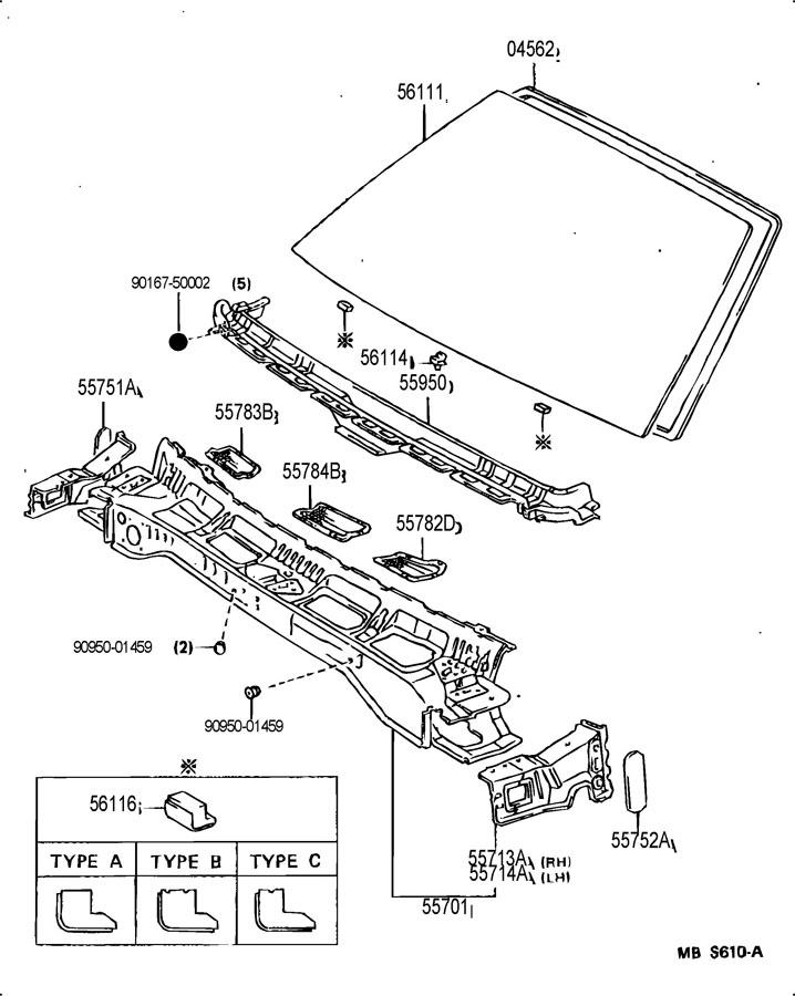 TOYOTA MR2 Dam kit, back window glass; dam kit, back