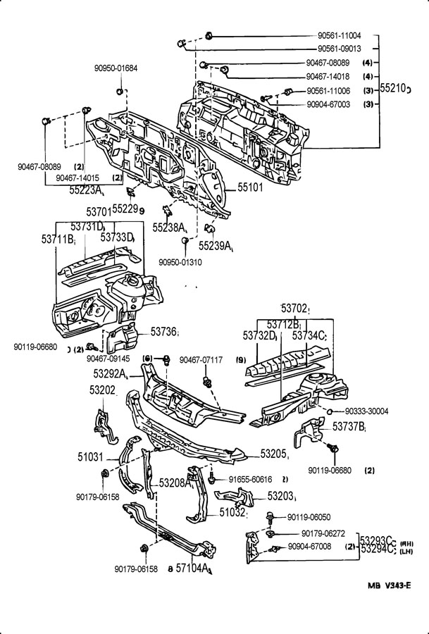 TOYOTA CAMRY Gusset sub-assy, front crossmember, rh