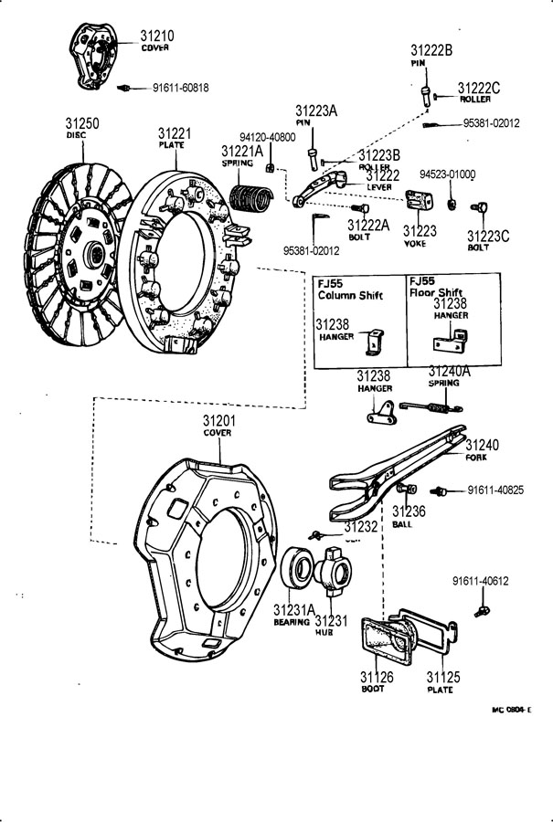 TOYOTA LAND CRUISER Spring, tension(for clutch release