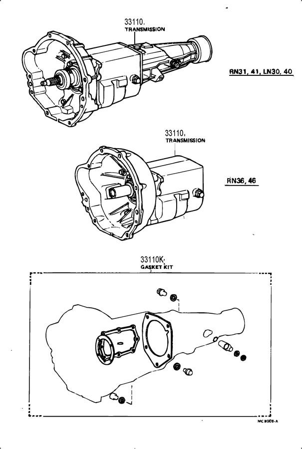 1983 TOYOTA PICKUP Transmission assy, manual. W/er78-14