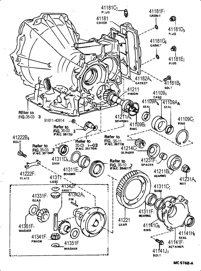 TOYOTA COROLLA Bearing(for rear differential case