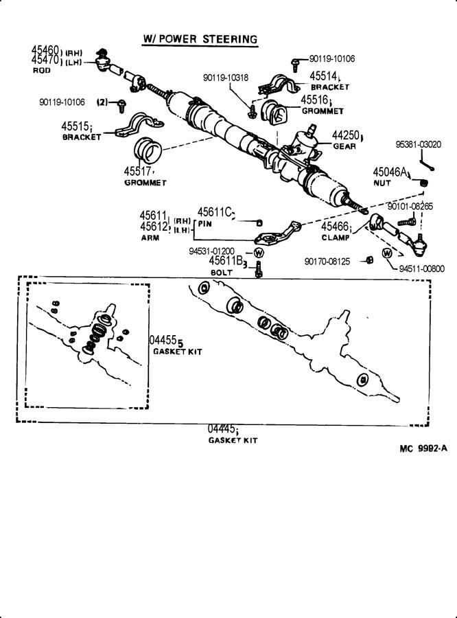 1986 TOYOTA COROLLA Gasket kit, power steering gear(for