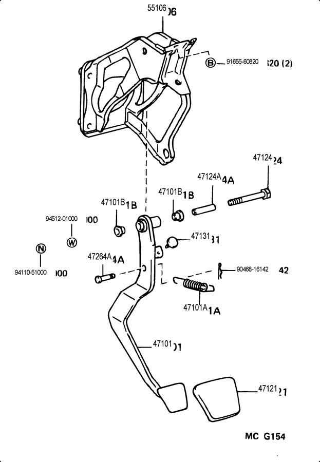 TOYOTA T100 Pad, brake pedal; pad, clutch pedal. Pad