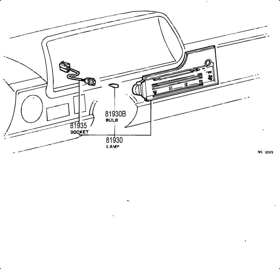 1984 TOYOTA Ashtray receptacle lamp bulb; bulb (for center