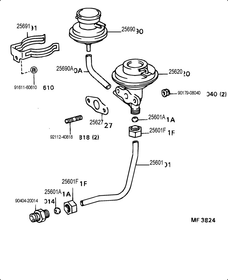 1989 TOYOTA Modulator assy, egr vacuum. Valve assy, egr