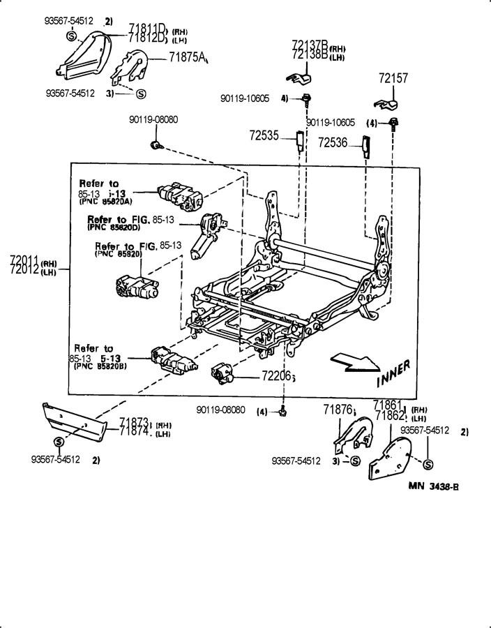 1996 TOYOTA Housing sub-assy, power seat, no.2
